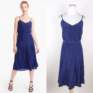 NEW J CREW Silk Spaghetti Strap Polka Dot Dress